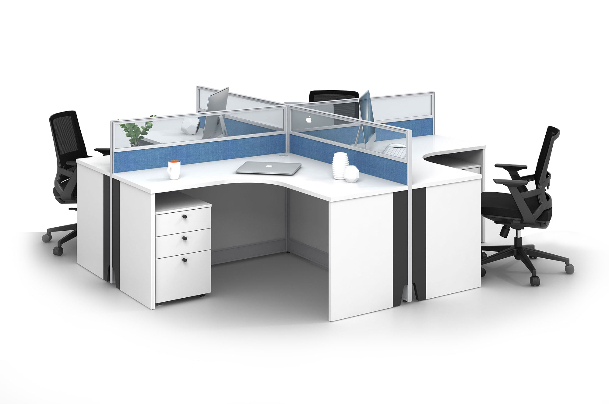 Modern style 4-person workstation Partition V-WC2828C