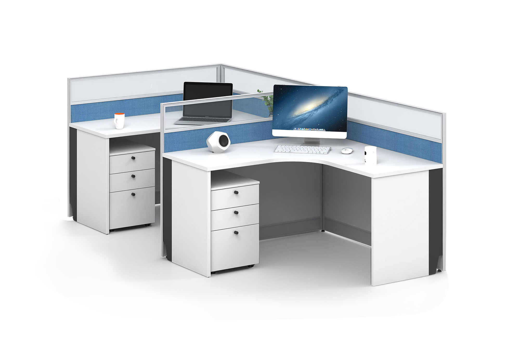Modern style 2-person workstation  Partition V-WB1428C