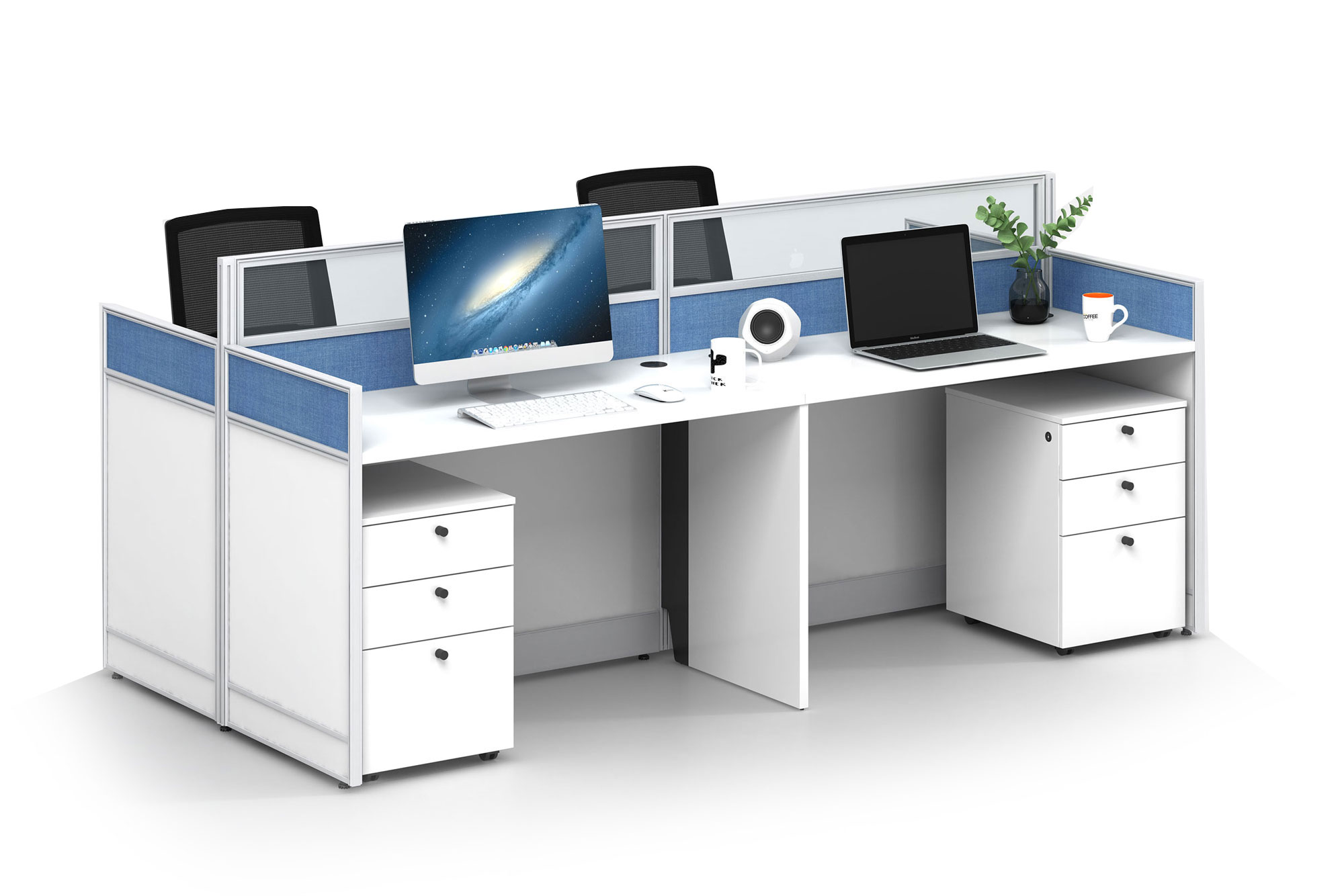 Modern style 4-person workstation Partition V-WD2412